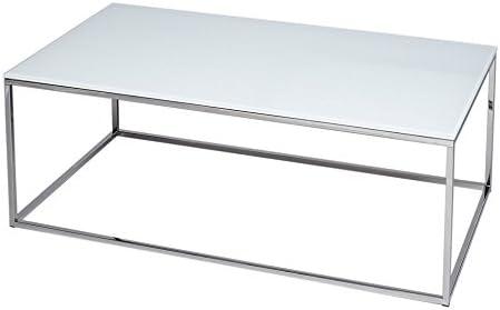 Gillmore Space Cristal Blanco y Plata Metal contemporáneo Mesa de ...