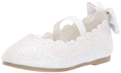 carter's Girls' Dot Glitter Ballet Flat, White, 9 M US Toddler