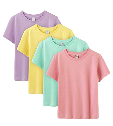 LAPASA Basics - Pack of 4 Pure 100 Non-Allergenic Cotton T-Shirts for Boy & Girl, Short Sleeve (Unisex Tees) K01 (Group A (Purple, Light Yellow, Light Green, Pink), 6-7 Years Old (Chest 14.2