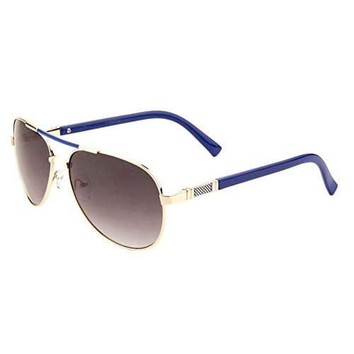 Merveilleux ... Sunglasses Luxe Metal Aviator Sunglasses Accent Top Bar Blue ...