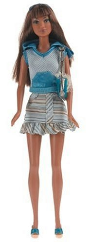 Barbie Fashion Fever – Kayla in Blue and White Hooded Top and Stripe Skirt, Baby & Kids Zone