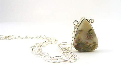 Natural Crazy Lace Agate Tear Drop Bezel Set Cabochon Gemstone Pendant Necklace on Sterling Silver Chain