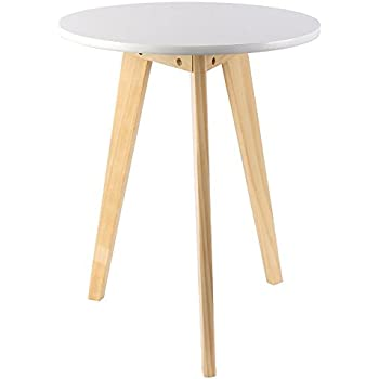 Three Legged Solid Wood End Table, Elegant Round Coffee Table,  Environmental Protection Material Furniture