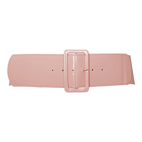 EVogues Plus Size Wide Patent Leather Fashion Belt Baby Pink - One Size Plus