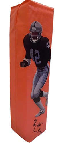 Los Angeles Raiders Ronnie Lott Autographed Hand Signed LA Raiders Full Size Photo Football Touchdown End Zone Pylon with Hitman Inscription and Proof Photo Signing, COA- Oakland Raiders Collectibles