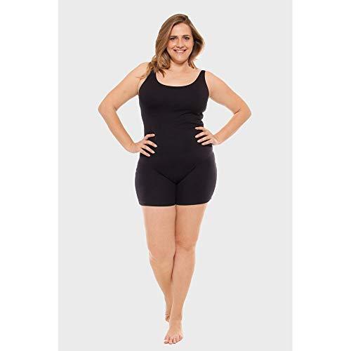 Macaquinho Plus Size Fitness Preto-0048