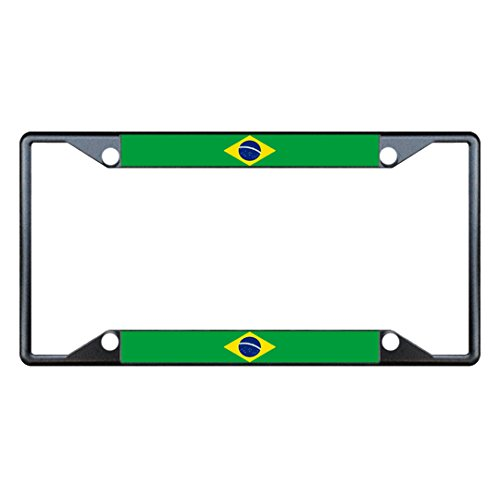 (Brazil Flag Country Black Metal License Plate Frame Tag Holder Four Holes)