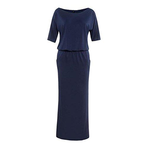 - JPOQW-summer Women's Short Sleeve Side Slit Pocket Wide Dress Round Neck Bodycon Navy