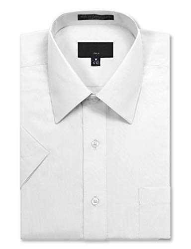JD Apparel Men's Regular Fit Short Sleeve Dress Shirts 14-14.5N Small White