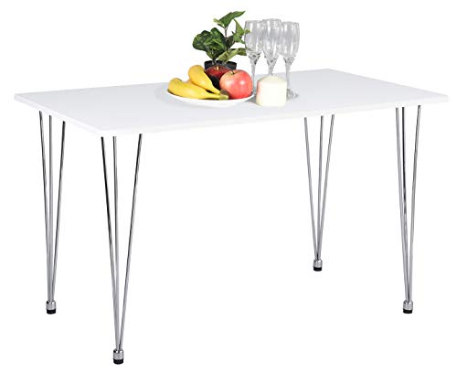 """Table Rectangular Modern Dining (Dining Table, Modern Dining Table Kitchen Table with Hairpin Legs, White Dining Room Table Home Office Leisure Mid Century Table for Xmas, Birthday, 47.2"""" L X 27.6"""" D X 28.3"""" H)"""