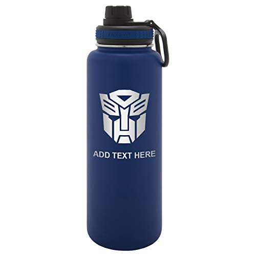 Army Force Gear Personalized Transformers Autobot Emblem Laser Engraved Thermoflask Leak Proof Insulated Stainless Steel Workout Sports Water Bottle Tumbler, 40oz Navy