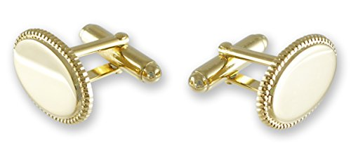 Emblematic Jewelry Oval Cufflinks Made In USA - Gold Tone - For Men, Perfect for Work & Weddings (Gold Tone - Oval)
