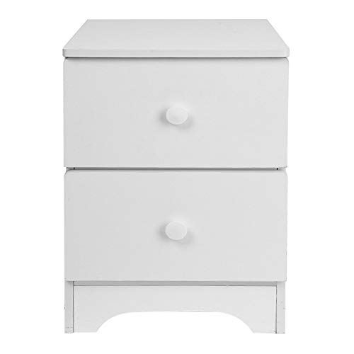(Assemble Storage Cabinet Bedroom Bedside Locker Double Drawer Bedside Table Simple Fashion Nightstand By Lmtime (White))