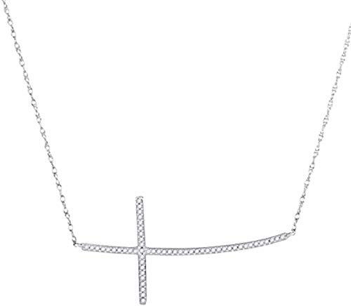 Curved Horizontal - Roy Rose Jewelry 10K White Gold Womens Round Diamond Horizontal Curved Cross Pendant Necklace 1/6-Carat tw