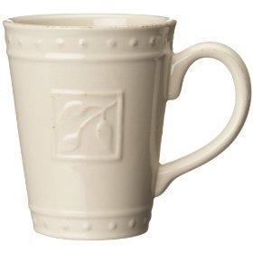 Signature Housewares Sorrento Collection 14-Ounce Mug, Ivory Antiqued Finish
