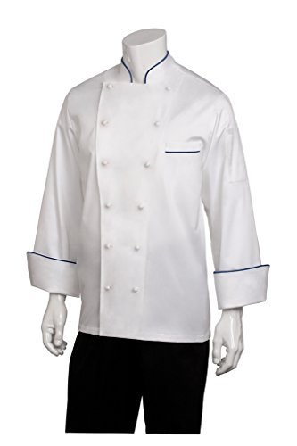 Chef Works Mens Carlton Executive Chef Coat, White With Blue Piping, (Mens Egyptian Cotton Chef Coat)