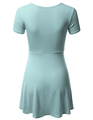 Loose Line Solid Fit skyblue Print Dress CLOVERY Awdsd0772 amp; Dress Floral Women's A 5qIxp8w