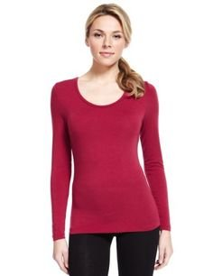 94a8da1e0c LADIES Marks   Spencer Red HEATGEN Glitter Long Sleeve Thermal Top M S  Winter ...