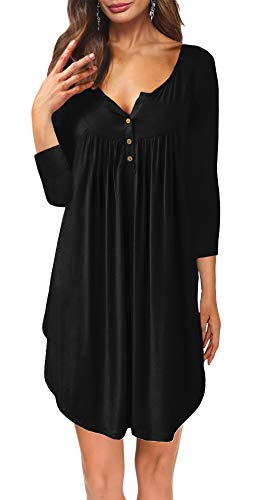 Womens Dresses V Neck 3/4 Sleeve Button up Loose Fit Casual Tunic T Shirt Dress