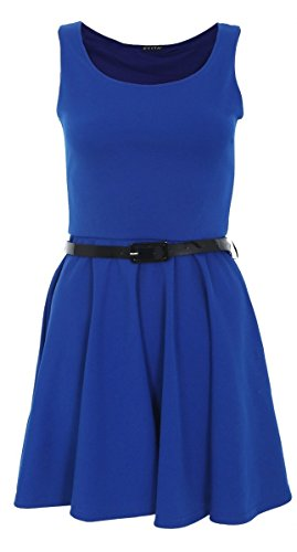 Monica Lewinsky Costume (Crazy Girls Ladies Women's Sleeveless Belted Pleated Ponte Skater Dress (S/M-US4/6, Royal Blue))