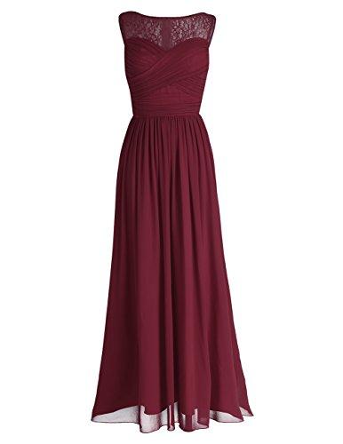 e1440fcf5ce2 iEFiEL Damen Kleid Festliche Kleider Elegant Abendkleid Hochzeit  Cocktailkleid Chiffon Langes Brautjungfernkleid 34-46 Weinrot