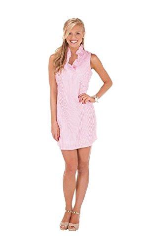 Mud Pie Womens Sailor Sleeveless Dress with Ruffled Neckline, Pink, (Pink Seersucker Dress)