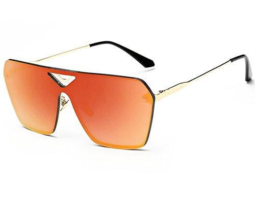 Linshe UV400 Unisex Windundurchlässige Oversize Sonnenbrille mit großen Rahmen (65mm) (golden Brille Rahmen + orange Brillenglas) 0cy14WmO