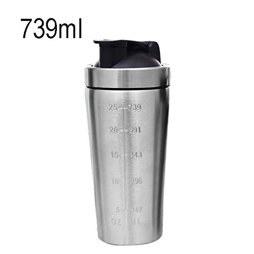 WXQ-XQ 739mL(25oz) Hefty Sports Cup Stainless Steel Protein Powder Classical Shaker Bottle Replacement Milkshake Cup(Matte Black 739mL (Size : Hc1628aa) by WXQ-XQ