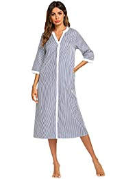 b21d44adbd Women s Striped Sleepwear Button Down Duster Short Sleeve House Dress  Nightgown S-XXL