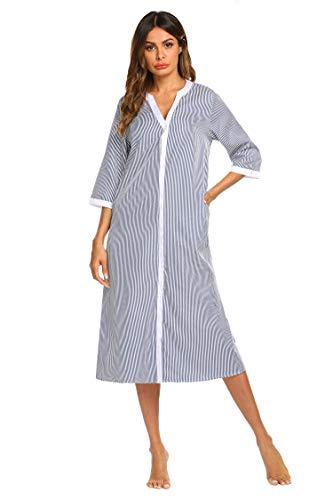 (Ekouaer Womens Casual Loungewear Soft Nightwear Long Lounger Dress (Navy Blue,Small))