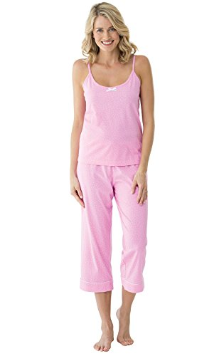 (PajamaGram Womens Pajama Sets Cotton - Women Summer Pajamas, Pink, L, 12-14)