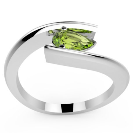 HABY POIRE Bagues Or Blanc 18 carats Peridot Vert 0,8 Poire