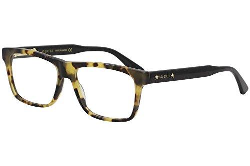 Gucci GG 0269O 004 Light Havana Black Plastic Rectangle Eyeglasses 56mm