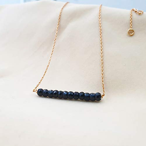 Black Spinel Bar Necklace 18K Gold plated Sterling Silver Chain Gemstone Layering Necklace