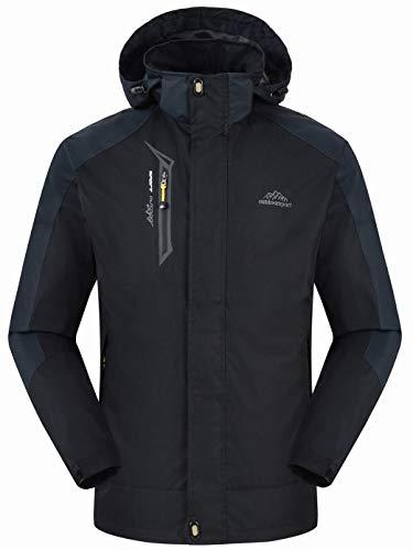 (Rdruko Men's Outdoor Jackets Hooded Waterproof Lightweight Softshell Mountain Climbing Sportswear(Black,US M))