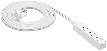 AmazonBasics Flat Plug Grounded Indoor Extension Cord with 3 Outlets, White, 15 Foot
