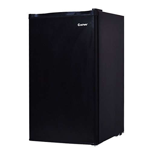 Costway 3.2 Cubic Feet. Compact Refrigerator Mini Dorm Small Fridge Freezer Reversible Door Black by COSTWAY