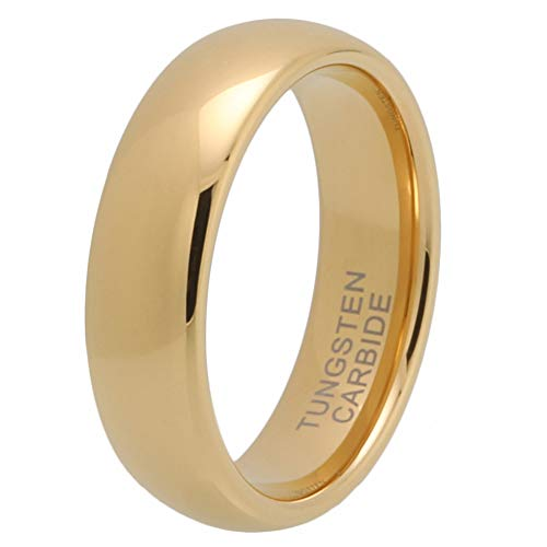 iTungsten 6mm 8mm Gold Tungsten Carbide Rings for Men Women Wedding Bands Domed Comfort Fit (Comfort Fit Tungsten Carbide)