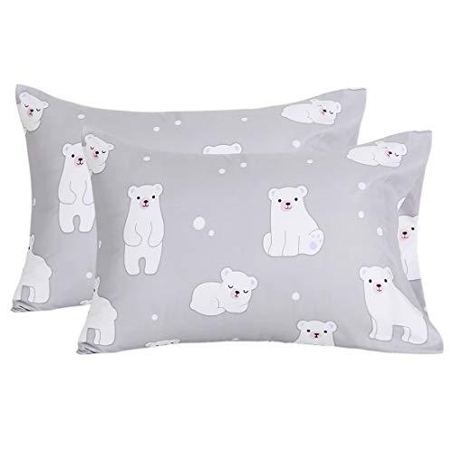 (Homiest 2 Pack Polar Bear Pillowcase Brushed Microfiber Pillowcases Standard Size 20x26, Grey Bear)