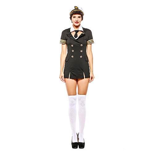 YaXuan Pilot Role-Playing Suit Halloween Party Dress Women's Navy Stewardess Halloween/Carnival Festival (Color : Picture Color, Size : One Size) ()