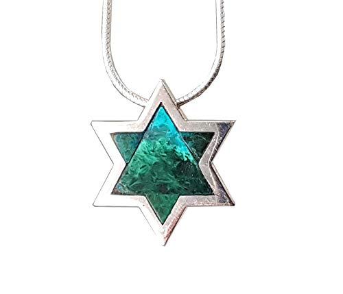 (Sterling Silver Eilat Stone Pendant King Solomon Stone Pendant )