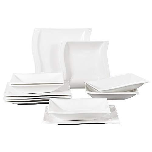 Dinner Flora Plate Set - Malacasa, Series Flora, 12-Piece Ivory White Porcelain China Ceramic Cream White Dinnerware Set of 6-Piece Soup Plates and 6-Piece Dinner Plates