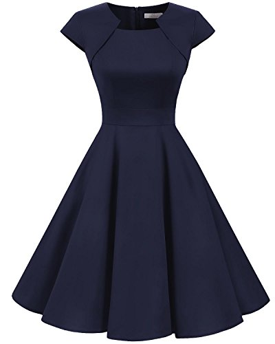 Homrain Women's 1950s Retro Vintage A-Line Cap Sleeve Cocktail Swing Party Dress Navy M