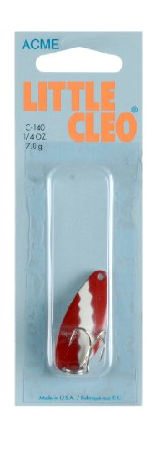 Acme Little Cleo Fishing Terminal Tackle, 1/4-Ounce, Red White Nickel