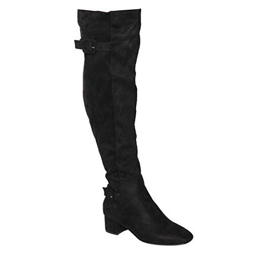 Beston EJ47 Frauen Seitlicher Reißverschluss Schnalle Block Heel Overknee High Boots Schwarz