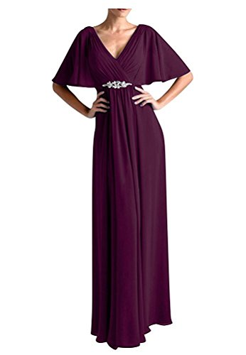 VaniaDress Women V Neck Half Sleeveles Long Evening Dress Formal Gowns V265LF Plum US18W from VaniaDress