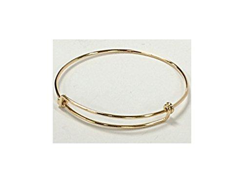 - 8 to 9.5 inch Adjustable 14Karat Gold-Filled Bangle Bracelet, 16 Gauge Wire