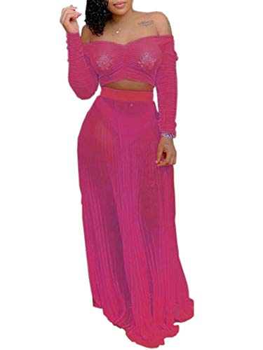 - Women Long Sleeve 2 Piece Skirts Set Mesh Sheer Off The Shoulder Crop Top High Waist Maxi Skirts Outfit Set Rose Red S
