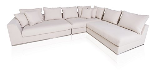 Italian Design Fabric Sectional Sofa (UrbanMod UM9155 Modern Italian Style Living Reversible Chaise Sectional White 120