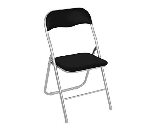 2008AN0816 Set 2 sedie pieghevoli NERE ass. Madrid imbottita base metallo. MEDIA WAVE store